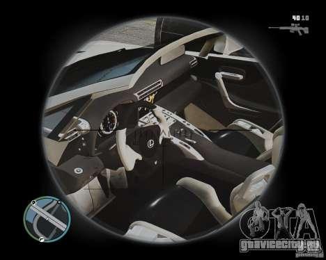 Lexus LF-A Roadster для GTA 4 вид изнутри