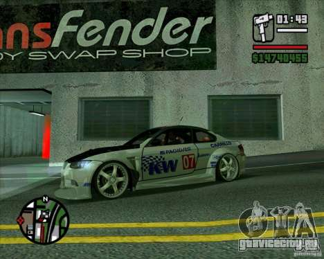 Bmw M3 2008 E92 для GTA San Andreas вид слева