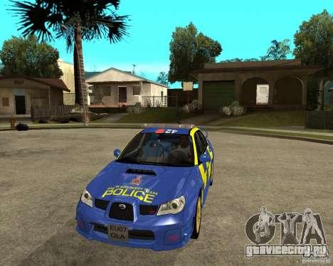 Subaru Impreza STi police для GTA San Andreas вид сзади