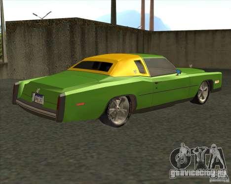 Cadillac Eldorado для GTA San Andreas вид снизу