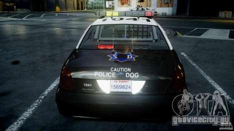 Ford Crown Victoria SFPD K9 Unit [ELS] для GTA 4 салон
