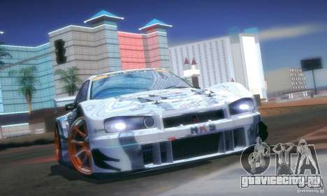 Nissan Skyline Touring R34 Blitz для GTA San Andreas вид изнутри