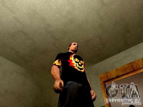 Черная футболка с огненным черепом для GTA San Andreas четвёртый скриншот