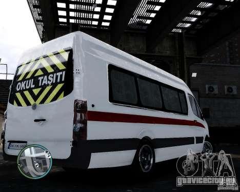 Volkswagen Crafter Turkish Schoolbus для GTA 4 вид сзади слева