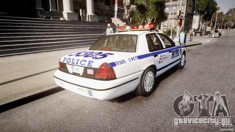 Ford Crown Victoria Police Department 2008 NYPD для GTA 4 вид сзади слева