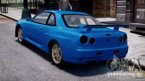 Nissan Skyline R-34 V-spec для GTA 4 вид справа