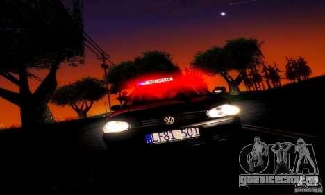 Volkswagen Golf Police для GTA San Andreas вид сзади слева