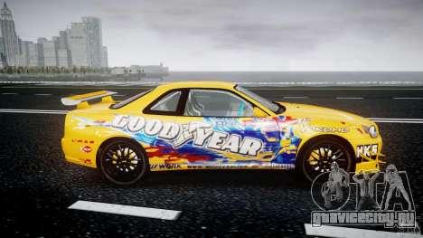 Nissan Skyline R34 GT-R Tezuka Goodyear D1 Drift для GTA 4 вид изнутри