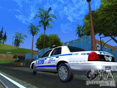 Ford Crown Victoria 2009 New York Police для GTA San Andreas вид сзади