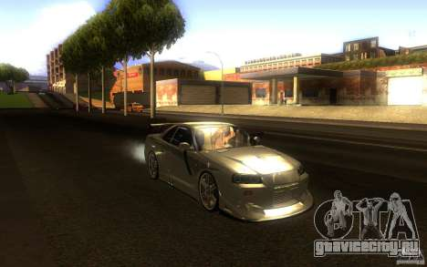Nissan Skyline GTR R34 для GTA San Andreas вид изнутри