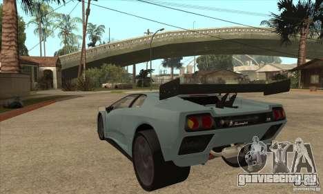 Lamborghini Diablo GT-R для GTA San Andreas вид сзади слева
