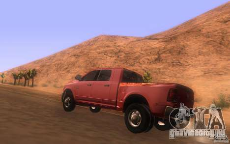 Dodge Ram 3500 Laramie 2010 для GTA San Andreas вид сзади слева