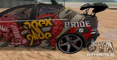 Mitsubishi Lancer Evolution RYO Vatanabe для GTA San Andreas вид сзади