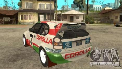 Toyota Corolla 1999 Rally Champion для GTA San Andreas вид сзади