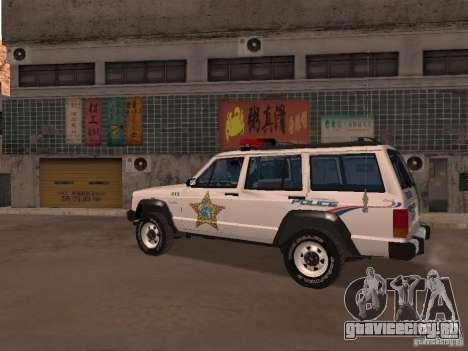 Jeep Cherokee Police 1988 для GTA San Andreas вид слева