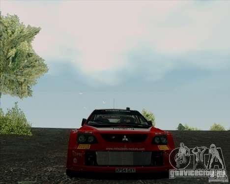 Mitsubishi Lancer Evolution VIII WRC для GTA San Andreas вид изнутри