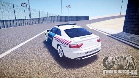 Audi S5 Hungarian Police Car white body для GTA 4 вид сзади слева