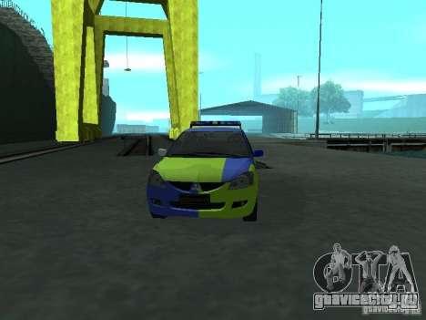 Mitsubishi Lancer Полиция для GTA San Andreas вид изнутри