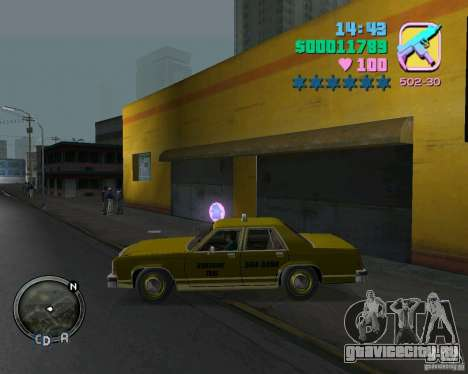 Ford Crown Victoria LTD 1985 Taxi для GTA Vice City вид сзади слева