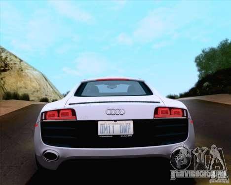 Audi R8 v10 2010 для GTA San Andreas вид изнутри