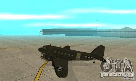 C-47 Skytrain для GTA San Andreas вид сзади слева