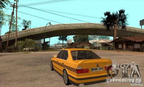 BMW E34 535i Taxi для GTA San Andreas вид сзади слева