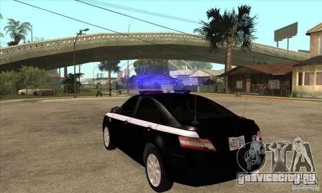 Toyota Camry 2010 SE Police RUS для GTA San Andreas вид сзади слева
