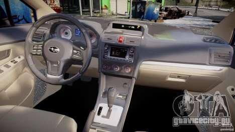 Subaru Impreza Sedan 2012 для GTA 4 вид сверху