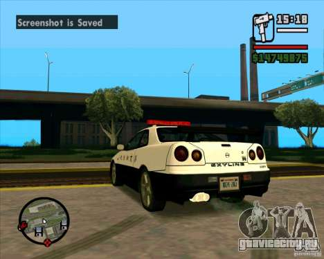 Nissan Skyline Japan Police для GTA San Andreas вид сзади слева