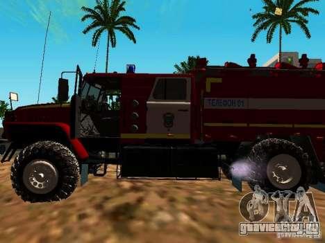 Урал 5557-40 пожарная для GTA San Andreas вид сзади