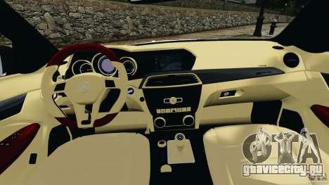 Mercedes-Benz C63 AMG 2012 для GTA 4 вид сзади