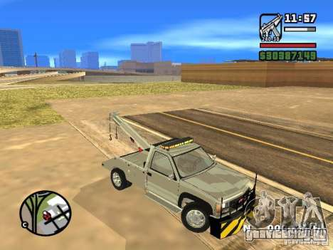 GMC Sierra Tow Truck для GTA San Andreas вид изнутри
