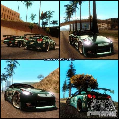 Nissan GT-R R35 rEACT для GTA San Andreas вид изнутри