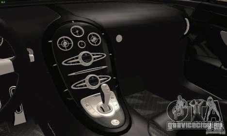 Bugatti Veyron SuperSport для GTA San Andreas вид изнутри