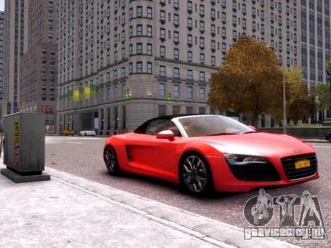 Audi R8 Spyder 5.2 FSI quattro V4 EPM для GTA 4 вид сзади слева