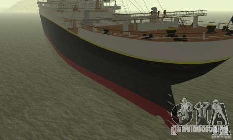RMS Titanic для GTA San Andreas вид сзади слева