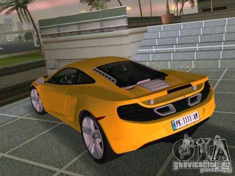 Mclaren MP4-12C для GTA Vice City вид изнутри