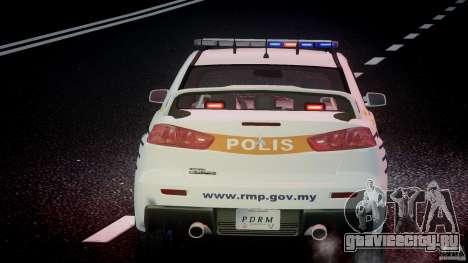 Mitsubishi Evolution X Police Car [ELS] для GTA 4 салон