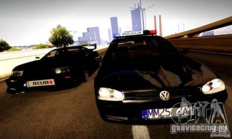 Volkswagen Golf Police для GTA San Andreas вид сзади