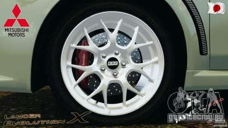 Mitsubishi Lancer Evolution X 2007 для GTA 4 вид изнутри