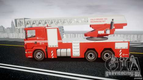 Scania Fire Ladder v1.1 Emerglights blue [ELS] для GTA 4 вид слева