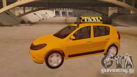 Renault Sandero Taxi для GTA San Andreas вид изнутри