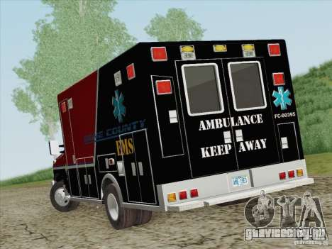 Ford E-350 AMR. Bone County Ambulance для GTA San Andreas вид сзади слева