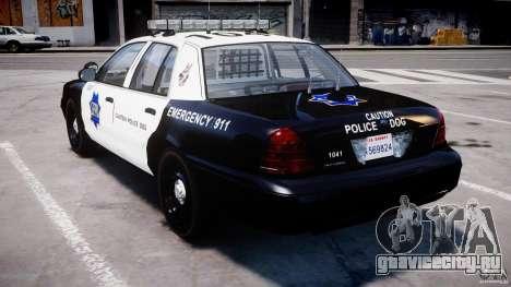 Ford Crown Victoria SFPD K9 Unit [ELS] для GTA 4 вид сзади слева