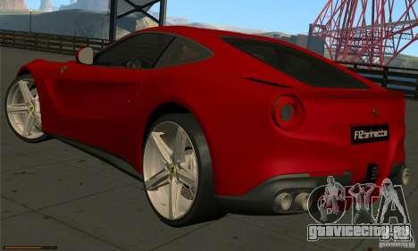 Ferrari F12 Berlinetta BETA для GTA San Andreas вид сзади слева