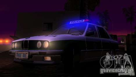 BMW E30 Sedan Police для GTA San Andreas вид изнутри