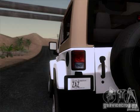 Jeep Wrangler Rubicon для GTA San Andreas вид сзади слева