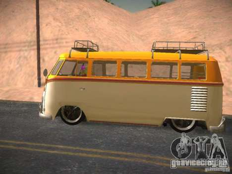 Volkswagen Type 2 Custom для GTA San Andreas вид изнутри