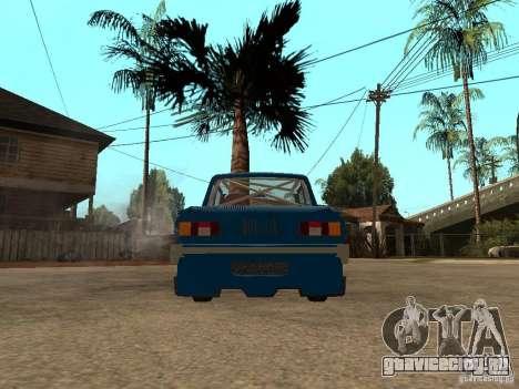 ЗАЗ 968 MUSIC EXPERT для GTA San Andreas вид сзади слева