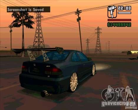 Honda Civic Tuned (исправленная) для GTA San Andreas вид сзади слева